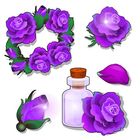 A set of items and cosmetics on the theme of roses isolated on a white background. Vector cartoon close-up illustration