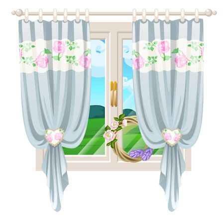 The window overlooking the sunny meadow of green grass in summer isolated on white background. Interior design luxury country house. A lovely day. Vector close-up cartoon illustration