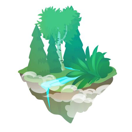 Fragment of forest with a stream isolated on a white background. The flying island. Vector cartoon close-up illustration