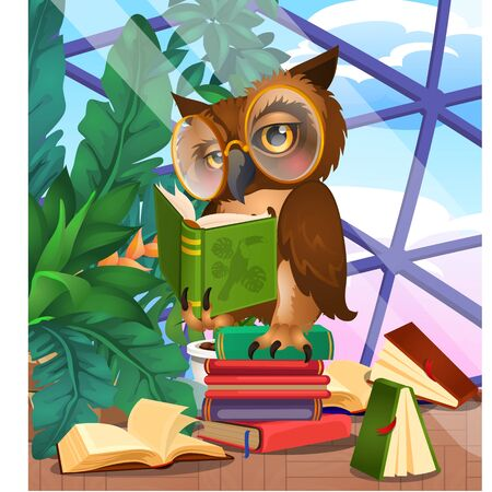 Cute owl in the greenhouse with exotic plants and books. Vector cartoon close-up illustration