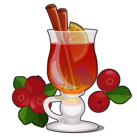 Glass transparent glass with cranberry drink with cinnamon and lemon isolated on a white background. Vector cartoon close-up illustration 版權商用圖片 - 141917023