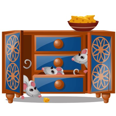 A cupboard with mouse and piece of cheese isolated on a white background. Vector cartoon close-up illustration