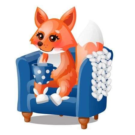 Cute smiling fox drinks hot tea in a soft chair isolated on a white