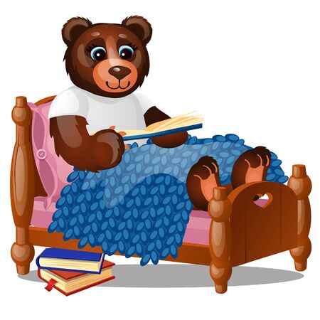 Cute smiling bear sitting in bed reading a book isolated on a white background. Vector cartoon close-up illustration 版權商用圖片 - 142010245
