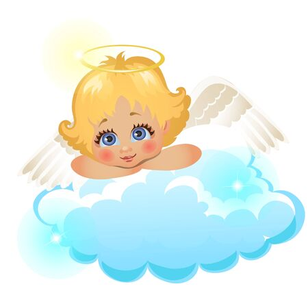 Animated cute little angel lying on a cloud isolated on white background. Vector cartoon close-up illustration. Ilustração