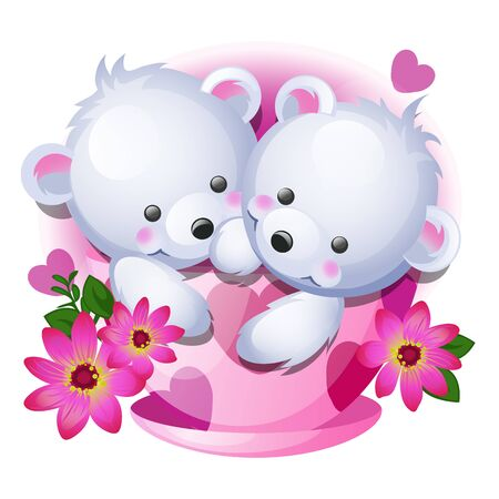 Cute gift or a sketch for a card with little fluffy bears in a porcelain cup with pink flowers isolated on white