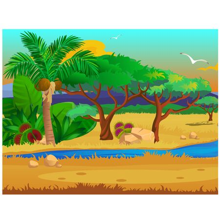 Picturesque landscape with a coconut palm tree, stones, carnivorous plants, flying bird.