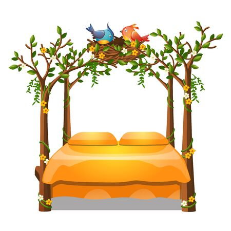 Cute orange color bed with decor form of a frame of stems of trees with nest with the birds isolated on white background. Vector cartoon close-up illustration.