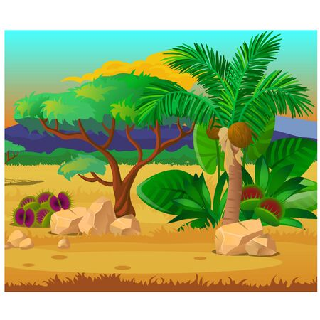 Picturesque landscape with a coconut palm tree, rocks and carnivorous plants.
