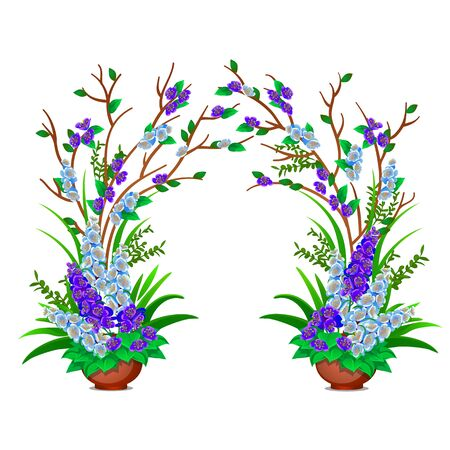 Decorative potted flowering plants isolated on white background. Vector cartoon close-up illustration.