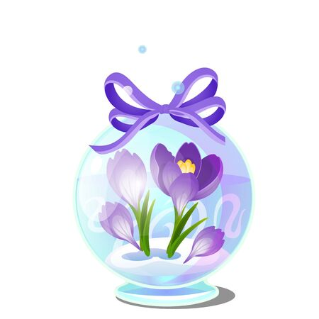Cute creative gift in the form of transparent glass ball with crocuses in the snow isolated on white background. Vector cartoon close-up illustration. 版權商用圖片 - 142116982