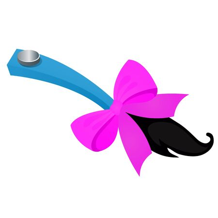 Funny accessory in the form of attached tail with purple ribbon bow isolated on white