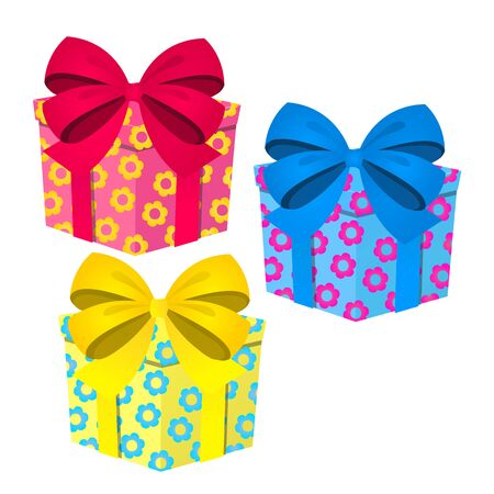 A set of cute colored gift boxes with ribbon bow isolated on white background. Vector cartoon close-up illustration 版權商用圖片 - 142244917