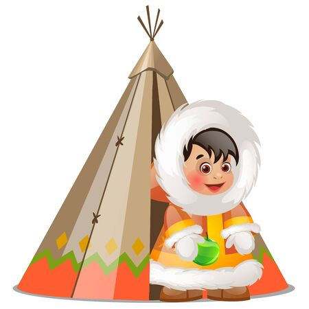 Baby inuit holding a green apple and summer tent made of skins of seal isolated on white background. Vector cartoon close-up illustration Ilustração