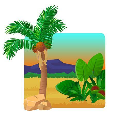 Picturesque landscape with a coconut palm tree, rocks and hills. Travel destination in southern country during summer. Vector cartoon close-up illustration