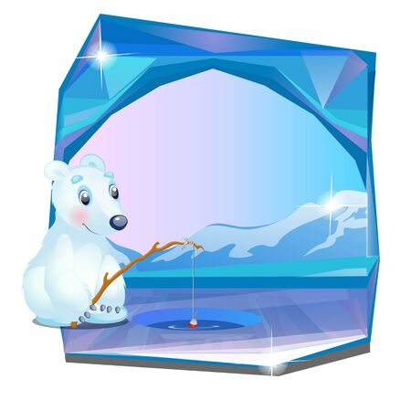 Cute picture of a polar bear fishing isolated on white background. Vector cartoon close-up illustration.