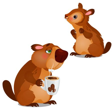 Cheerful beaver and tired beaver drinking coffee isolated on white background. Vector cartoon close-up illustration.
