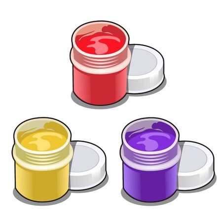 Set of open plastic jars with colorful paint isolated on white Ilustração