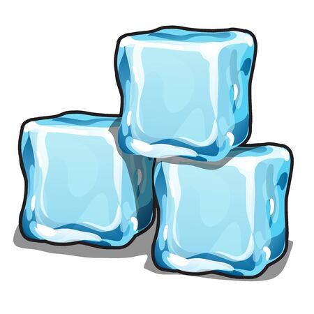 Stack of ice cubes isolated on white background. Vector cartoon close-up illustration. Ilustração