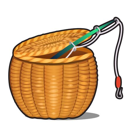 Fishing rod in wicker basket isolated on white background. Vector cartoon close-up illustration.