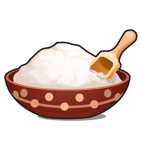 Clay bowl with white powder isolated on white background. Vector cartoon close-up illustration. 版權商用圖片 - 142340167