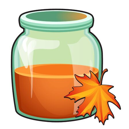 Transparent glass jar with orange liquid and maple leaf isolated on white background. Vector cartoon close-up illustration.