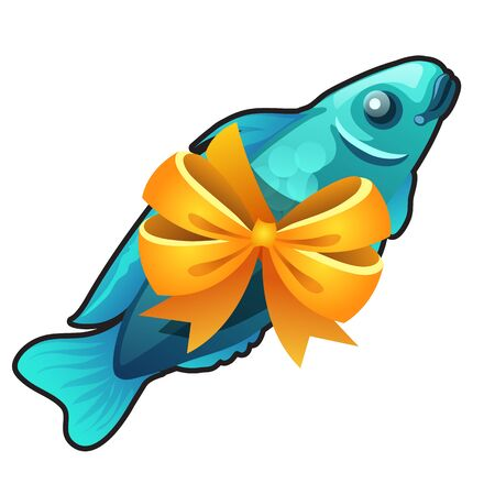 A souvenir in the form of fish tied with orange ribbon bow isolated on white background. Vector cartoon close-up illustration. Illustration