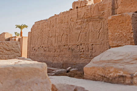 Karnak Temple, The ruins of the temple, Embossed hieroglyphs on the wall