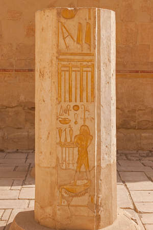 queen of hatshepsut, The ruins of the temple, Embossed hieroglyphs on the wall
