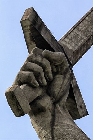 Sculpture hand holding the sword, part os the sculpture Motherland is calling in Volgograd, former Stalingrad