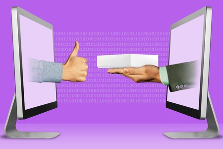 information concept, two hands appear from laptops. thumbs up, like on the letf and hand with white tablet computer box on the right. illustration