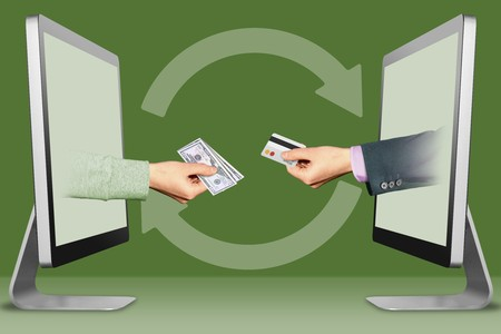computer concept, hands from monitors. hand with cash money and hand with credit card . illustration