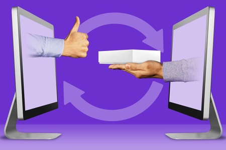 hi-tech concept, hands from displays. thumbs up, like and hand with white tablet computer box . illustration Stock Photo