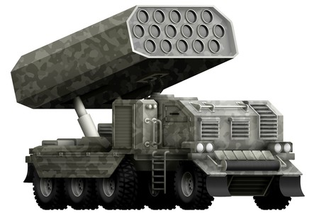 rocket artillery, missile launcher with grey camouflage isolated object on white background. 3d illustration