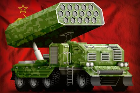 rocket artillery, missile launcher with pixel green camouflage on the Soviet Union (SSSR, USSR) flag background. 9 May, Victory day concept. 3d Illustration
