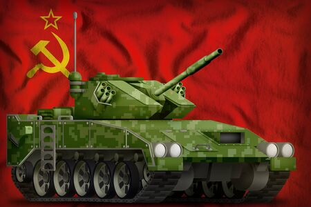 light tank apc with pixel summer camouflage on the Soviet Union (SSSR, USSR) flag background. 9 May, Victory day concept. 3d Illustration Reklamní fotografie