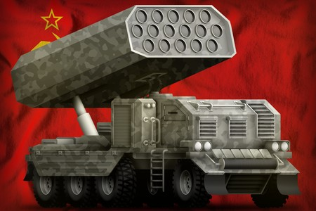 rocket artillery, missile launcher with grey camouflage on the Soviet Union (SSSR, USSR) flag background. 9 May, Victory day concept. 3d Illustration
