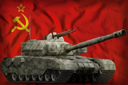 heavy tank with city camouflage on the Soviet Union (SSSR, USSR) flag background. 9 May, Victory day concept. 3d Illustration