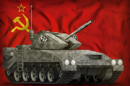 light tank apc with city camouflage on the Soviet Union (SSSR, USSR) flag background. 9 May, Victory day concept. 3d Illustration Reklamní fotografie