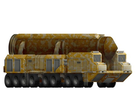 intercontinental ballistic missile with desert camouflage isolated object on white background. 3d illustration