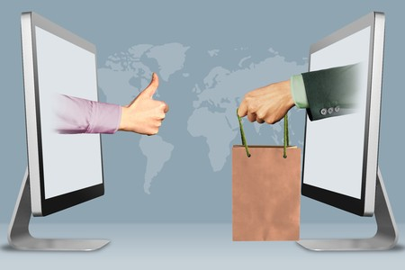 digital concept, hands from displays. thumbs up, like and hand with shopping bag . 3d illustration Banco de Imagens