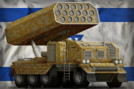 rocket artillery, missile launcher with sand camouflage on the Israel flag background. 3d Illustration