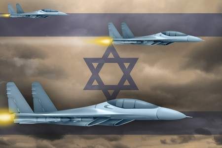 Israel air strike concept. Modern war airplanes attack on Israel flag background. 3d Illustration Stock Photo
