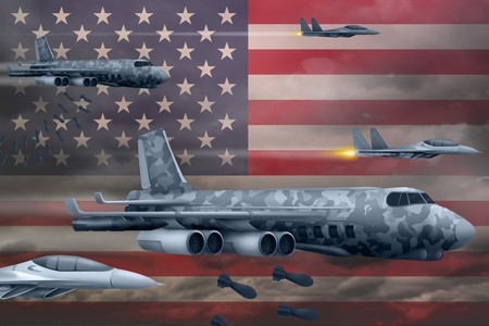 USA bomb air strike concept. Modern USA war airplanes bombing on flag background. 3d Illustration