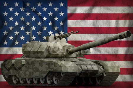 heavy tank with city camouflage on the USA flag background. 3d Illustration Standard-Bild