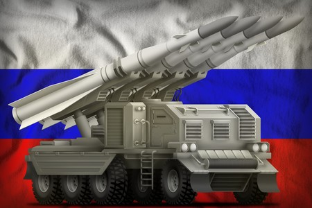 tactical short range ballistic missile on the Russia flag background. 3d Illustration