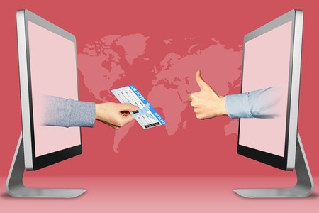 e-commerce concept, hands from laptops. air ticket and thumbs up, like . 3d illustration