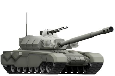 objeto aislado del tanque pesado en el fondo blanco. Ilustración 3d