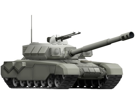 heavy tank isolated object on white background. 3d illustration