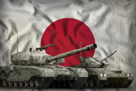 tanks with pixel grey camouflage on the Japan flag background. Japan tank forces concept. 3d Illustration